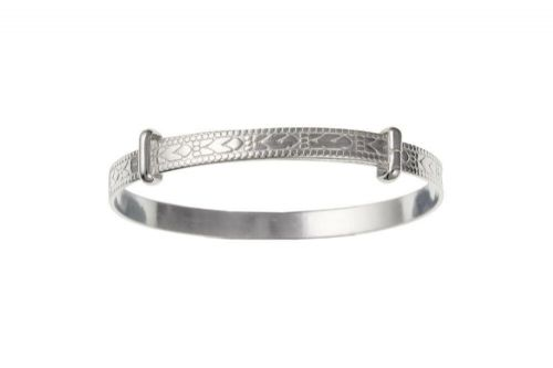 Child's Bangle Solid Silver Large Adjustable Embossed Christening 925 Hallmark
